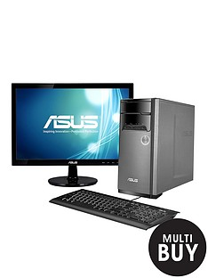 asus-m32bf-amd-a8-processor-6gb-1tb-hard-drive-185-inch-monitor-desktop-pc-bundle-with-2gb-dedicated-graphics-with-optional-microsoft-office-365-personal-silver