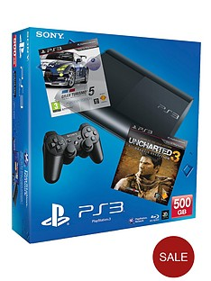 playstation-3-500gb-console-with-gt5-academy-unchartered-3-drakes-deception-game-of-the-year-with-optional-3-or-12-months-playstation-plus