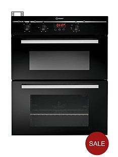 indesit-fimu23bks-60cm-electric-double-oven-built-under-black