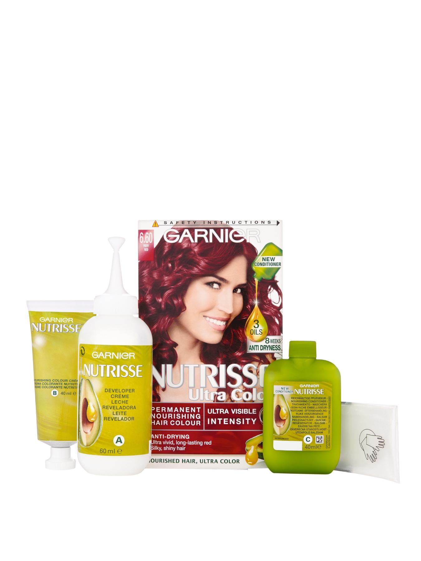 Nutrisse Permanent Hair Colour - Fiery Red 6.60 at Littlewoods