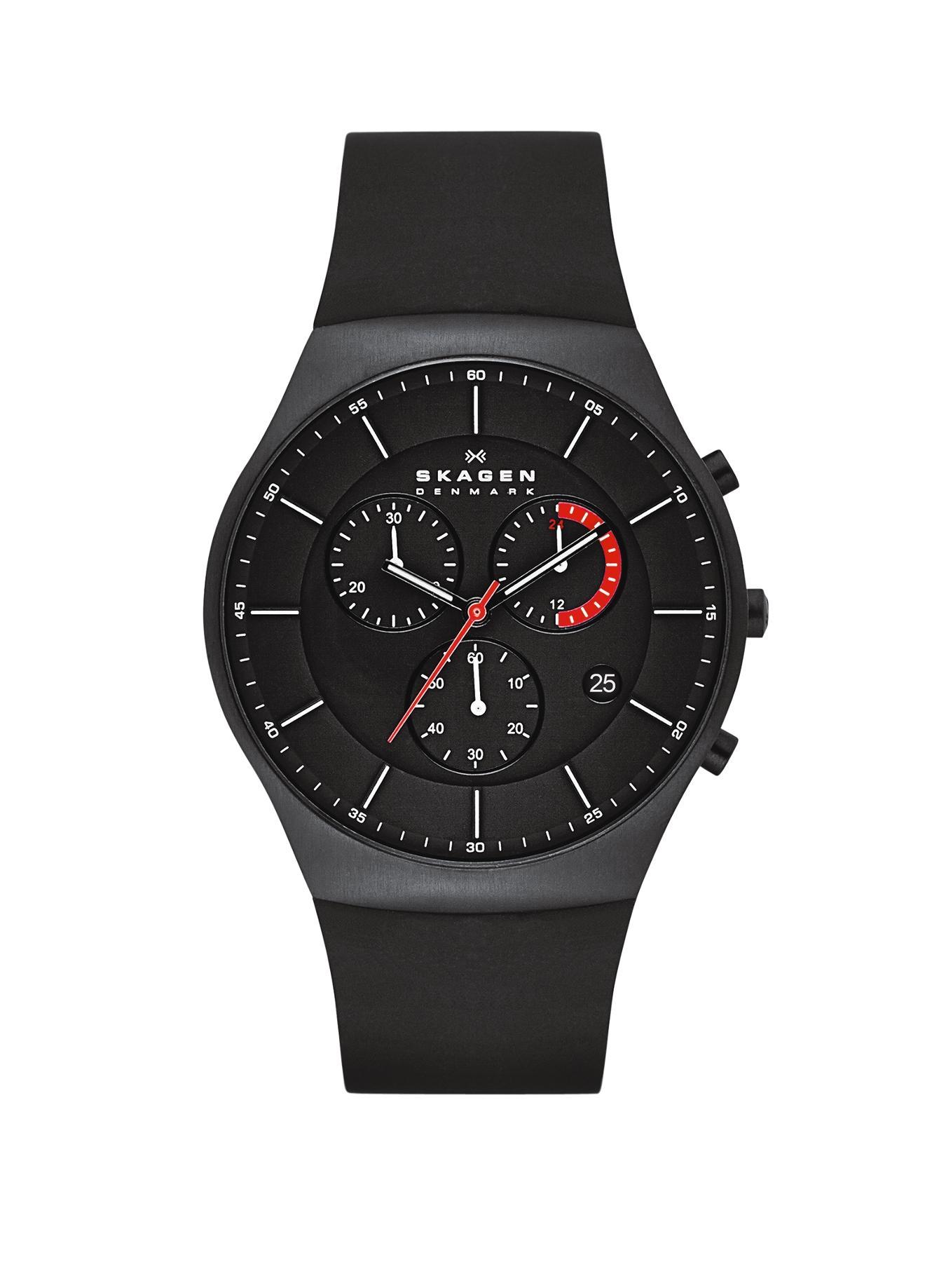 Aktiv Black Silicone Chronograph Mens Watch