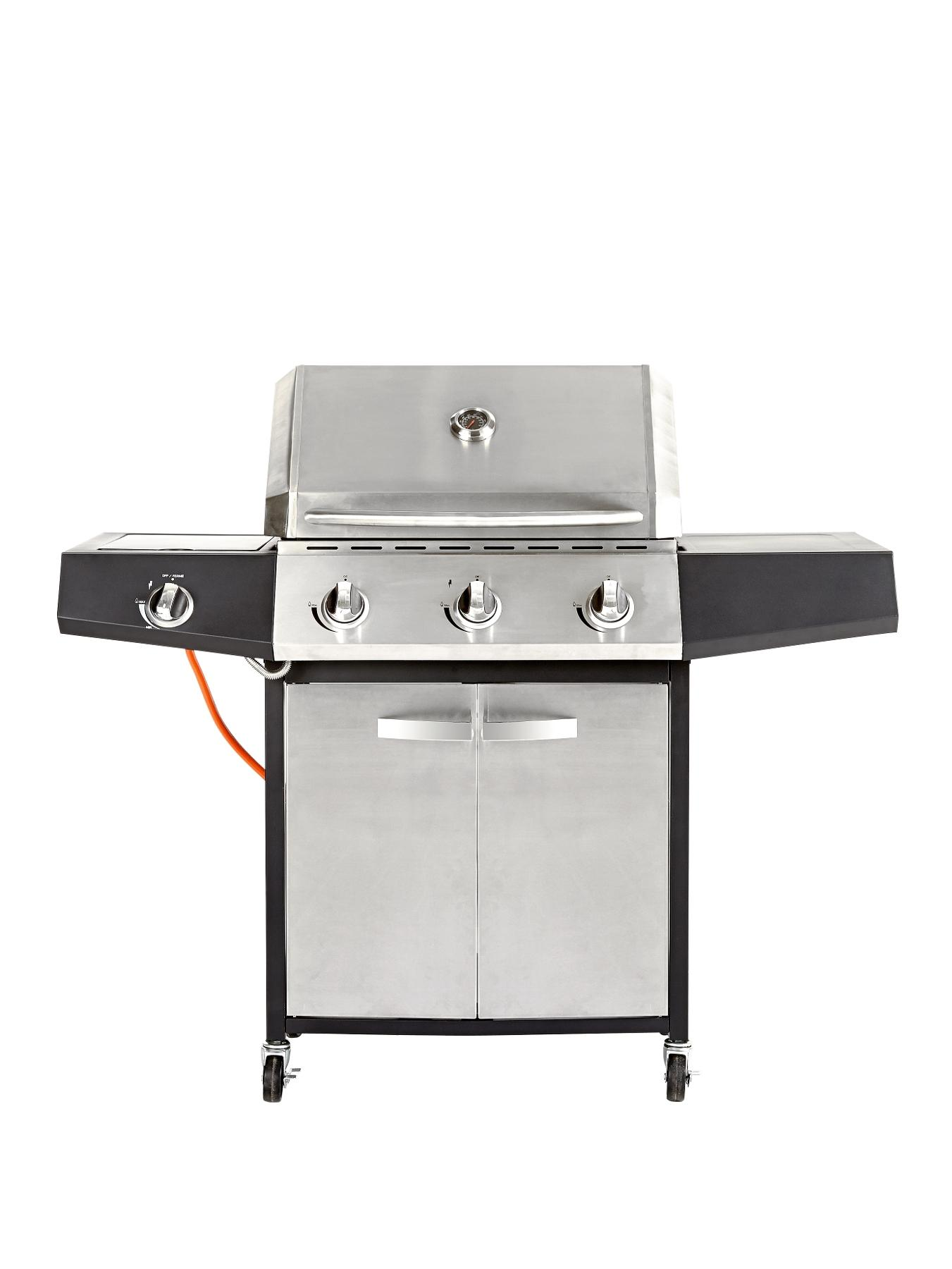 3 Burner Gas BBQ with Side Burner - Stainless Steel