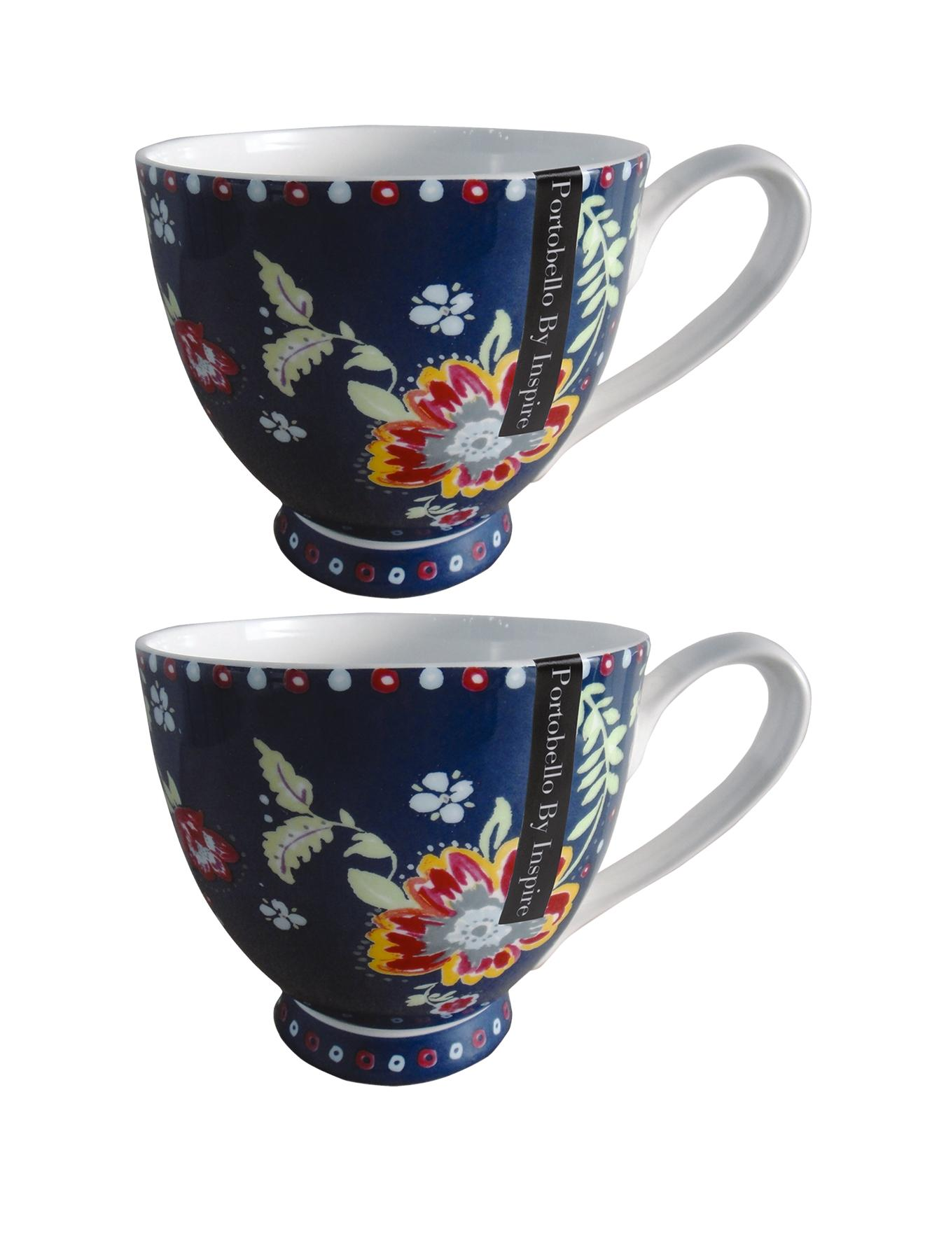 Boho Footed Mugs (Set of 2) - Multi