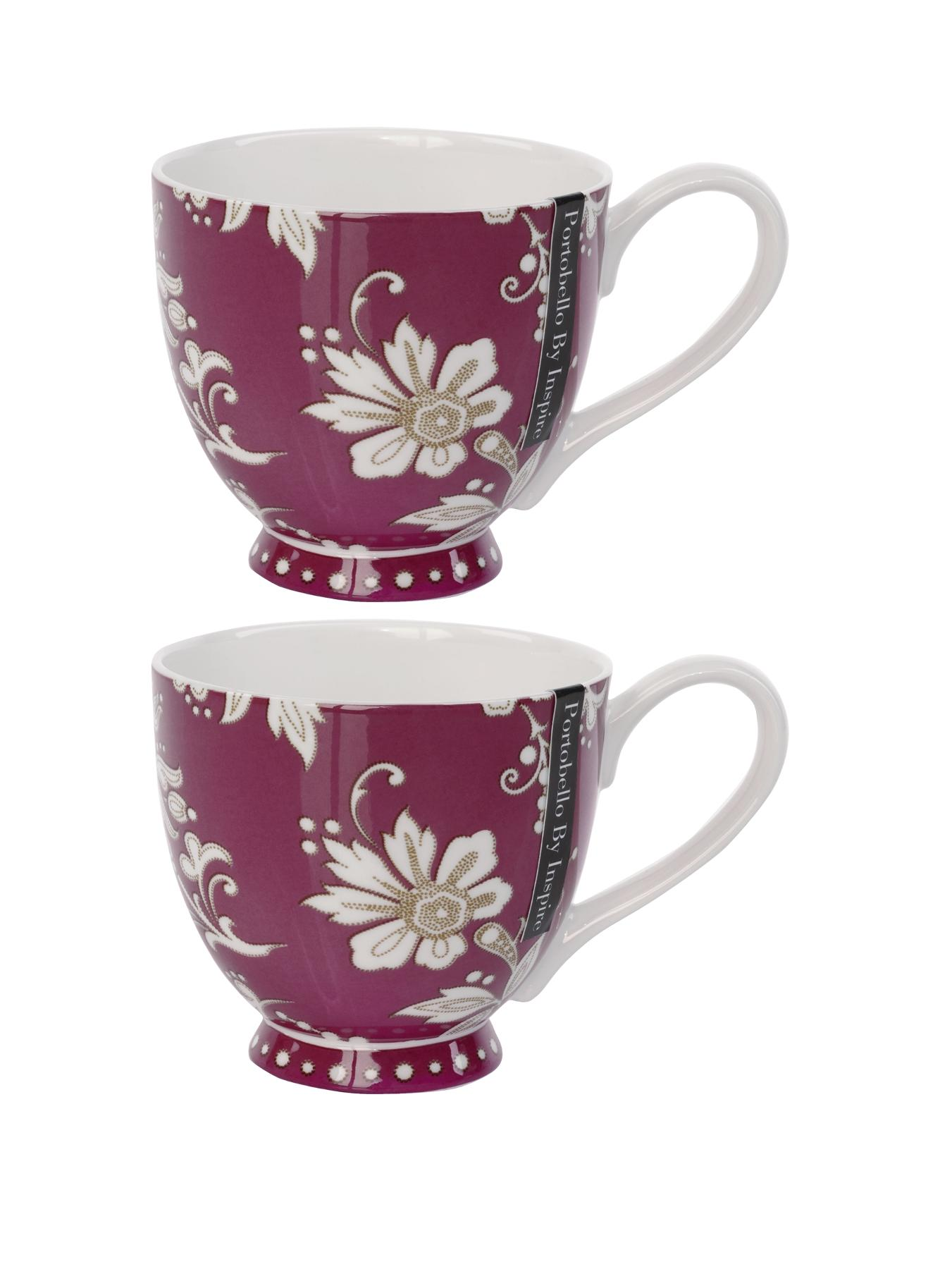 Lexi Burgundy Footed Mugs - Burgundy (set of 2)