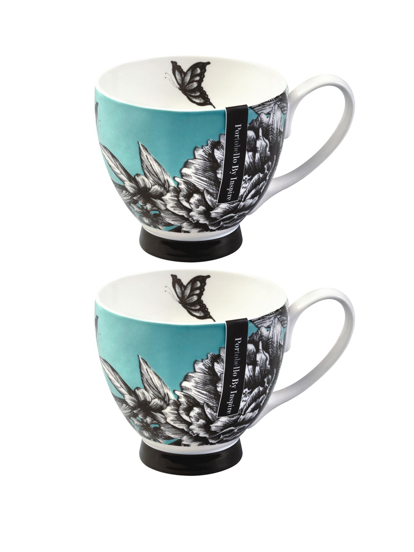 Zen Garden Teal Footed Mugs (Set of 2) - Teal