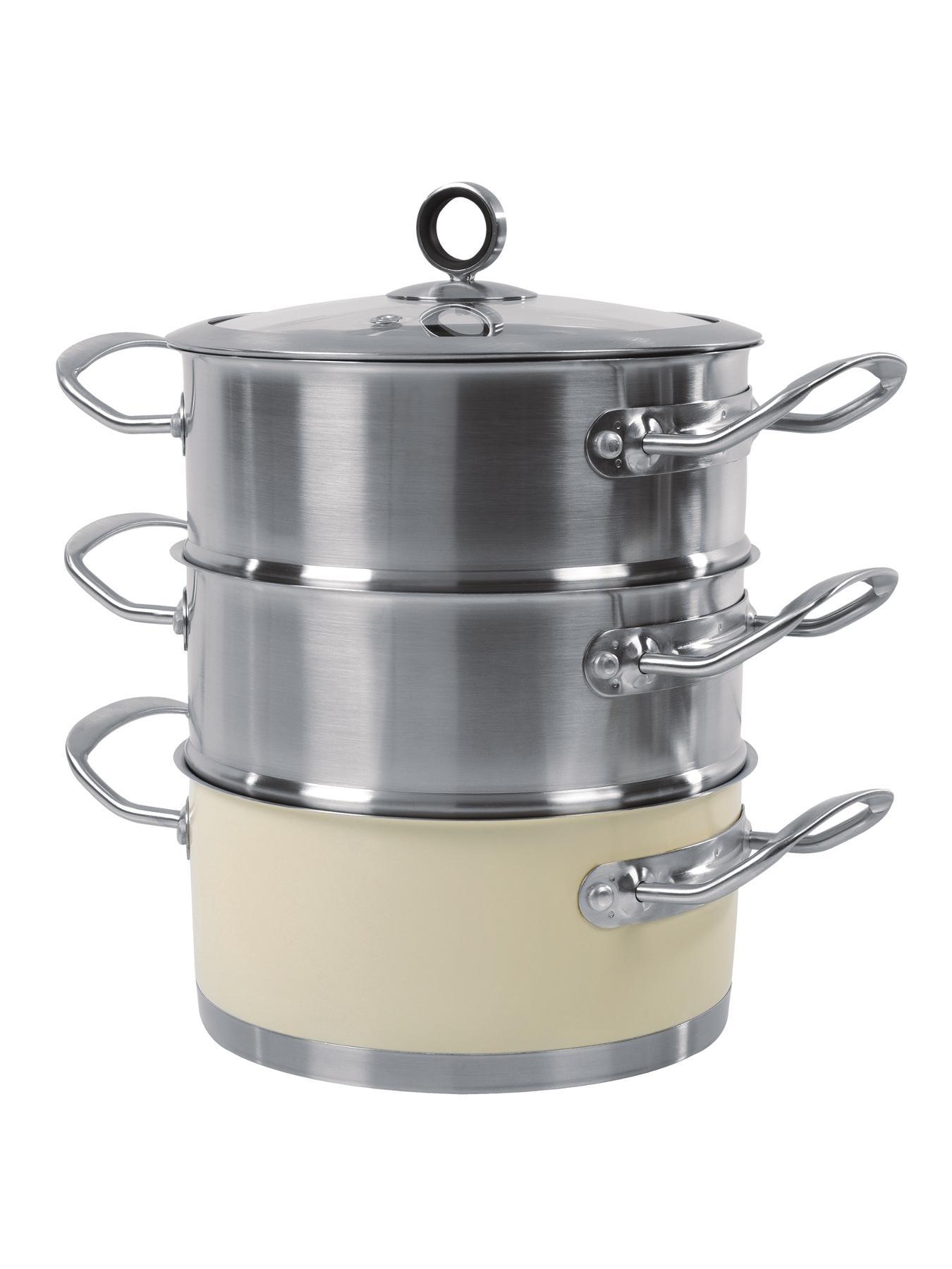 18cm 3-Tier Steamer - Cream