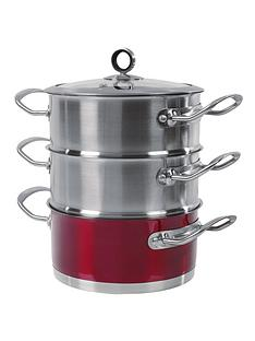 morphy-richards-18-cm-3-tier-steamer-red