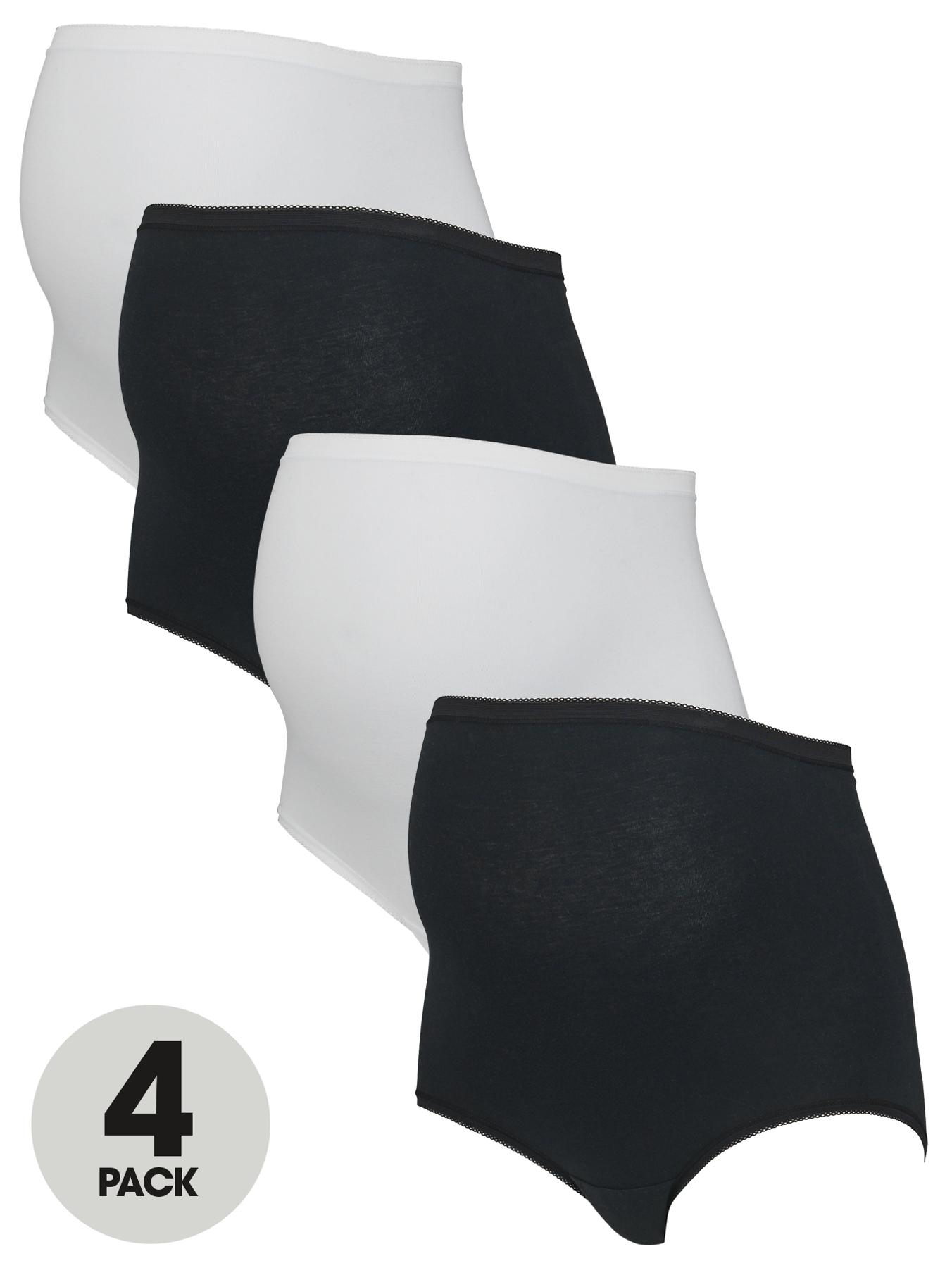 Maternity Briefs (4 Pack) 'Over The Bump', Black
