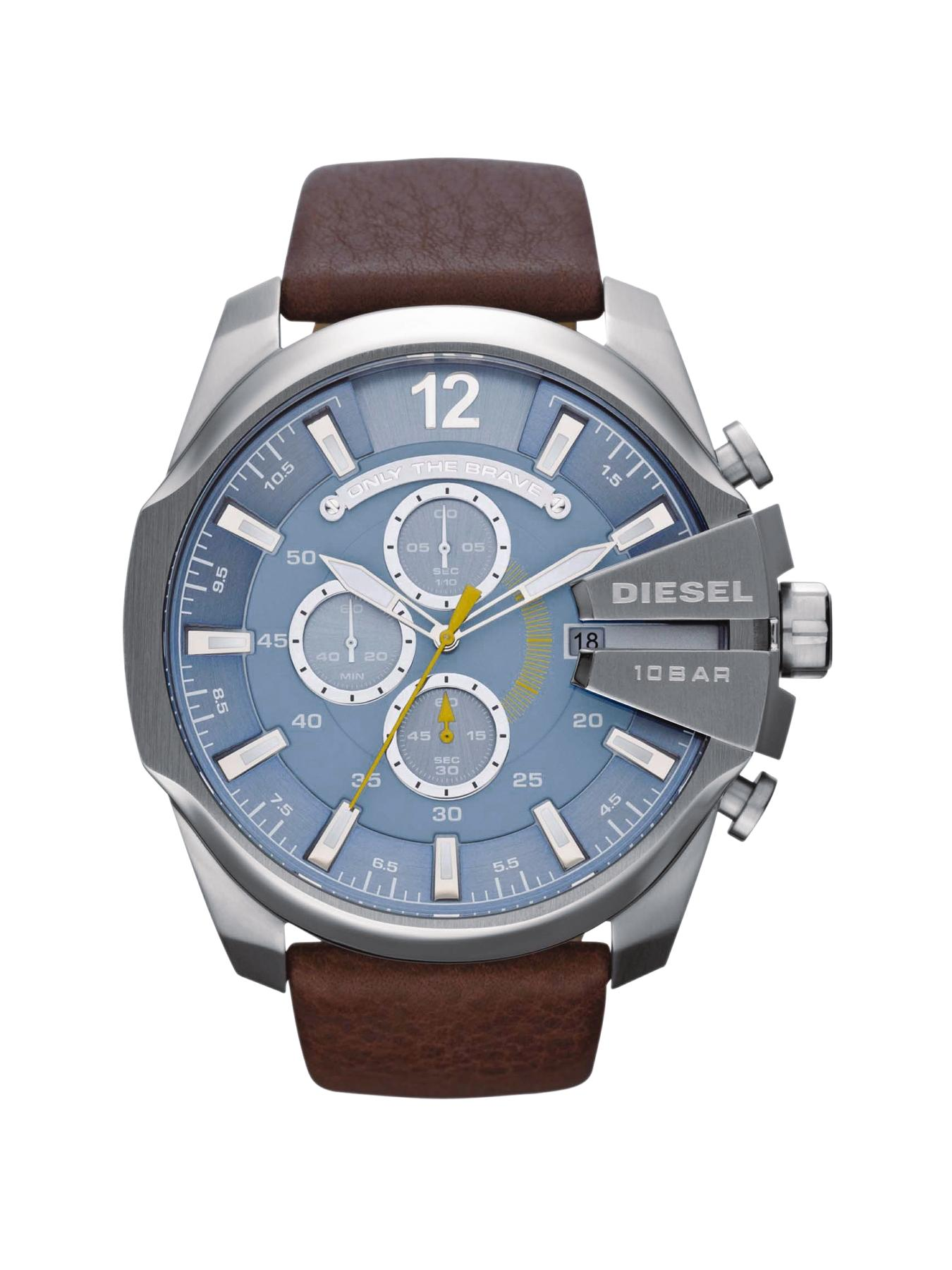 Mega Chief Brown Leather Strap Mens Watch