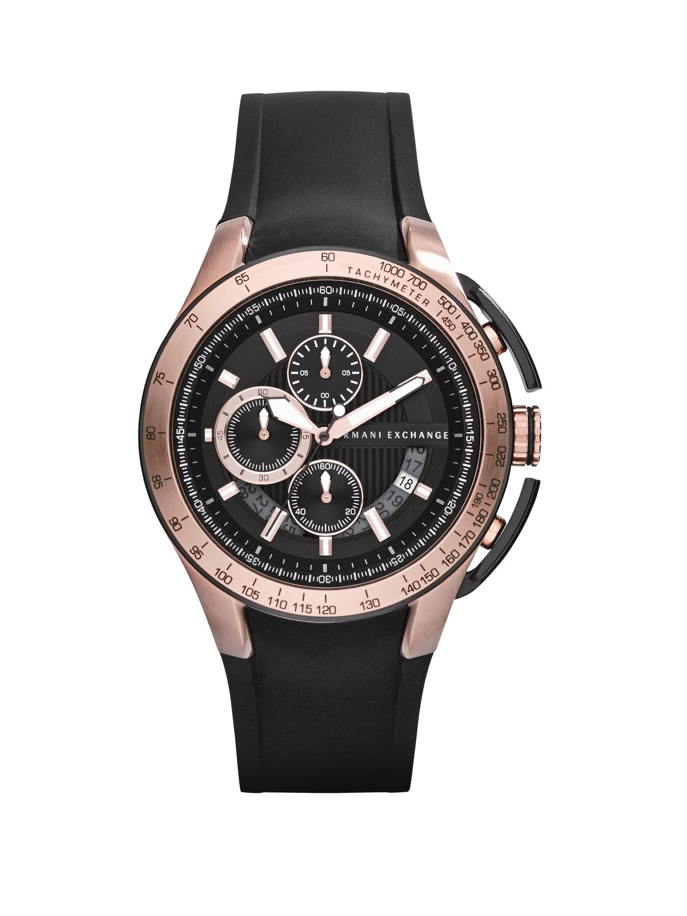 Black Dial Rose Gold IP Plated and Black Silicon Strap Mens Watch