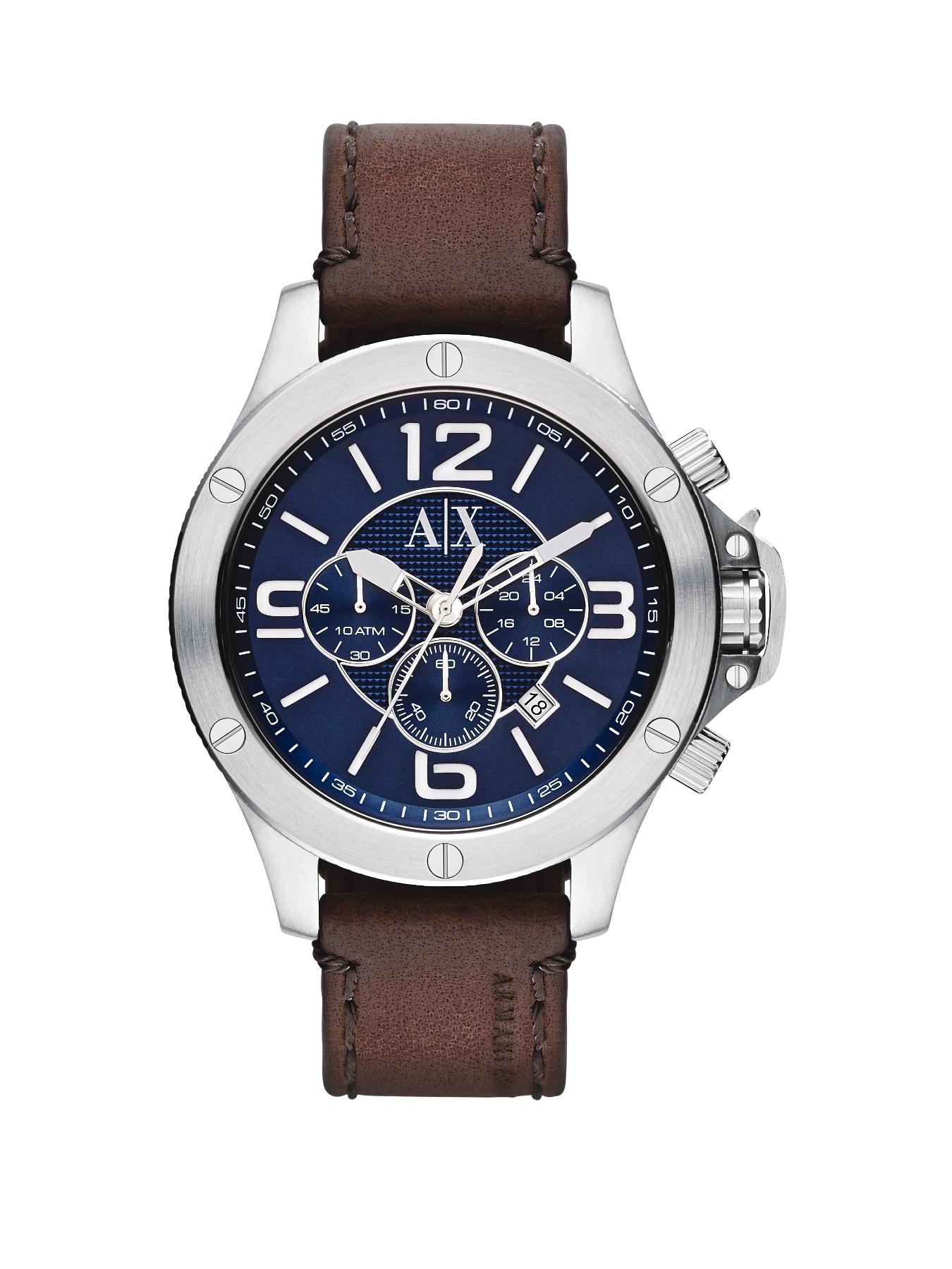 Blue Dial Stainless Steel and Brown Leather Strap Mens Watch