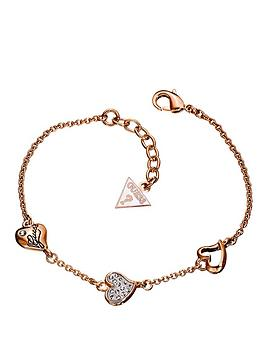 guess-triple-heart-crystal-and-rose-gold-bracelet