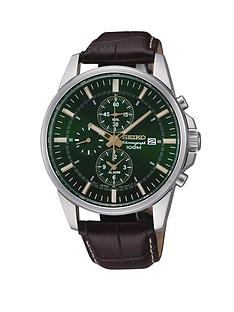 seiko-brown-leather-strap-stainless-steel-chronograph-mens-watch