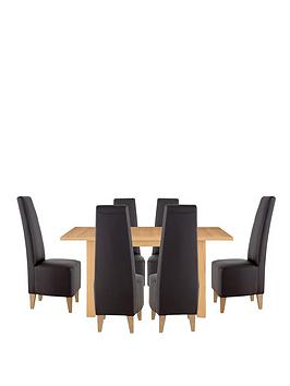 primo-120-160-cm-extending-dining-table-6-manhattan-chairs-buy-and-save