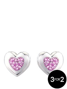 the-love-silver-collection-sterling-silver-and-pink-crystal-stud-earrings