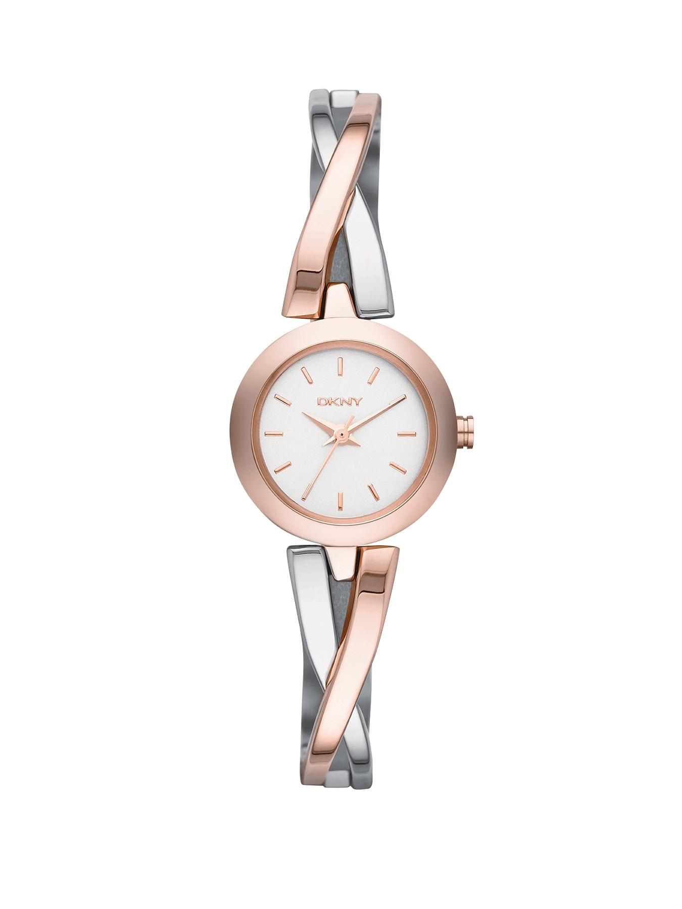 Crosswalk Stainless Steel and Rose Gold-Tone Ladies Watch