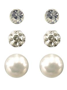 love-silver-sterling-silver-set-of-3-crystal-glitter-ball-and-pearl-stud-earrings