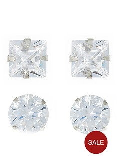 love-gem-9-carat-white-gold-set-of-2-5-mm-cubic-zirconia-round-and-square-stud-earrings