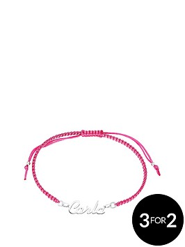the-love-silver-collection-personalised-sterling-silver-nameplate-on-coloured-cord-bracelet