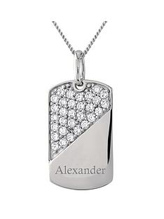 keepsafe-personalised-mens-sterling-silver-cubic-zirconia-tag-pendant