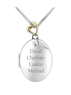the-love-silver-collection-personalised-sterling-silver-and-gold-plated-diamond-set-family-locket