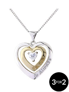 keepsafe-sterling-silver-and-gold-plated-cubic-zirconia-heart-pendant-with-message-forever-and-always