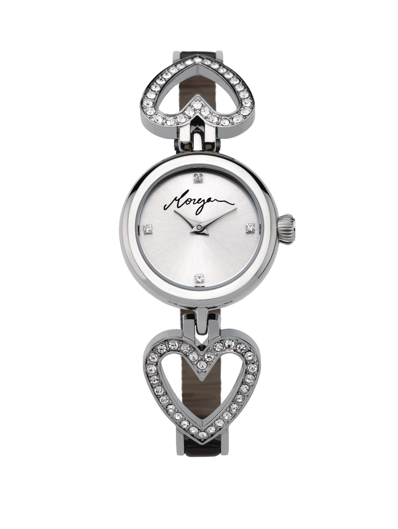 Silver Tone Dial and Black Leather Strap Ladies Watch at Littlewoods