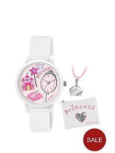 tikkers-white-princess-childrens-watch-set