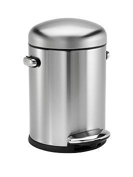 simplehuman-45-litre-retro-bin-brushed-steel
