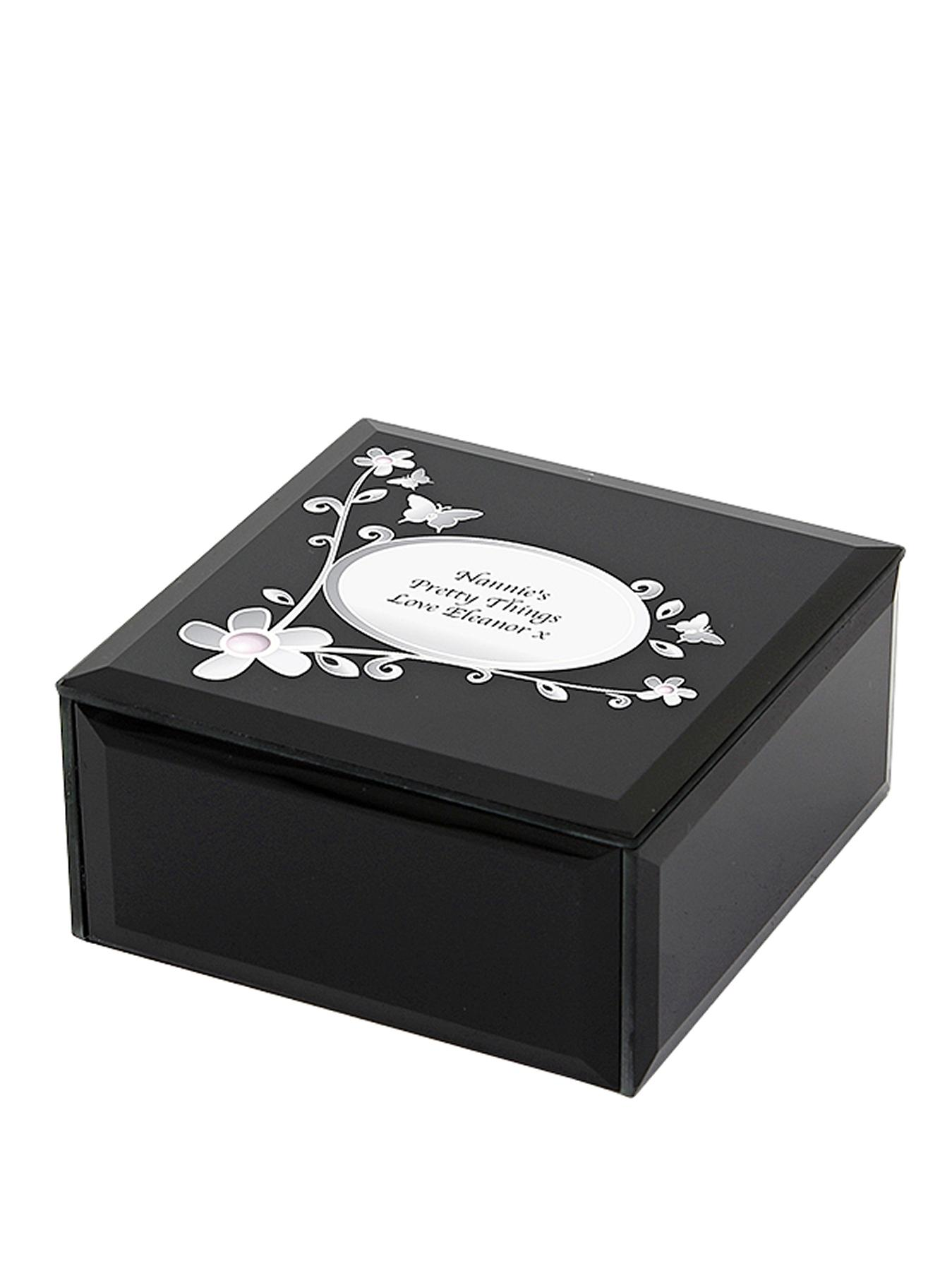 Personalised Black Butterfly Trinket Box