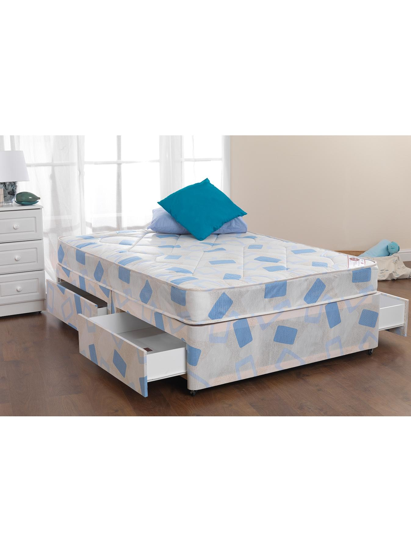 Silentnight westland open spring divan bed medium firm Three quarter divan bed