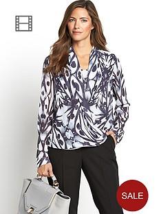 long-sleeve-printed-wrap-blouse