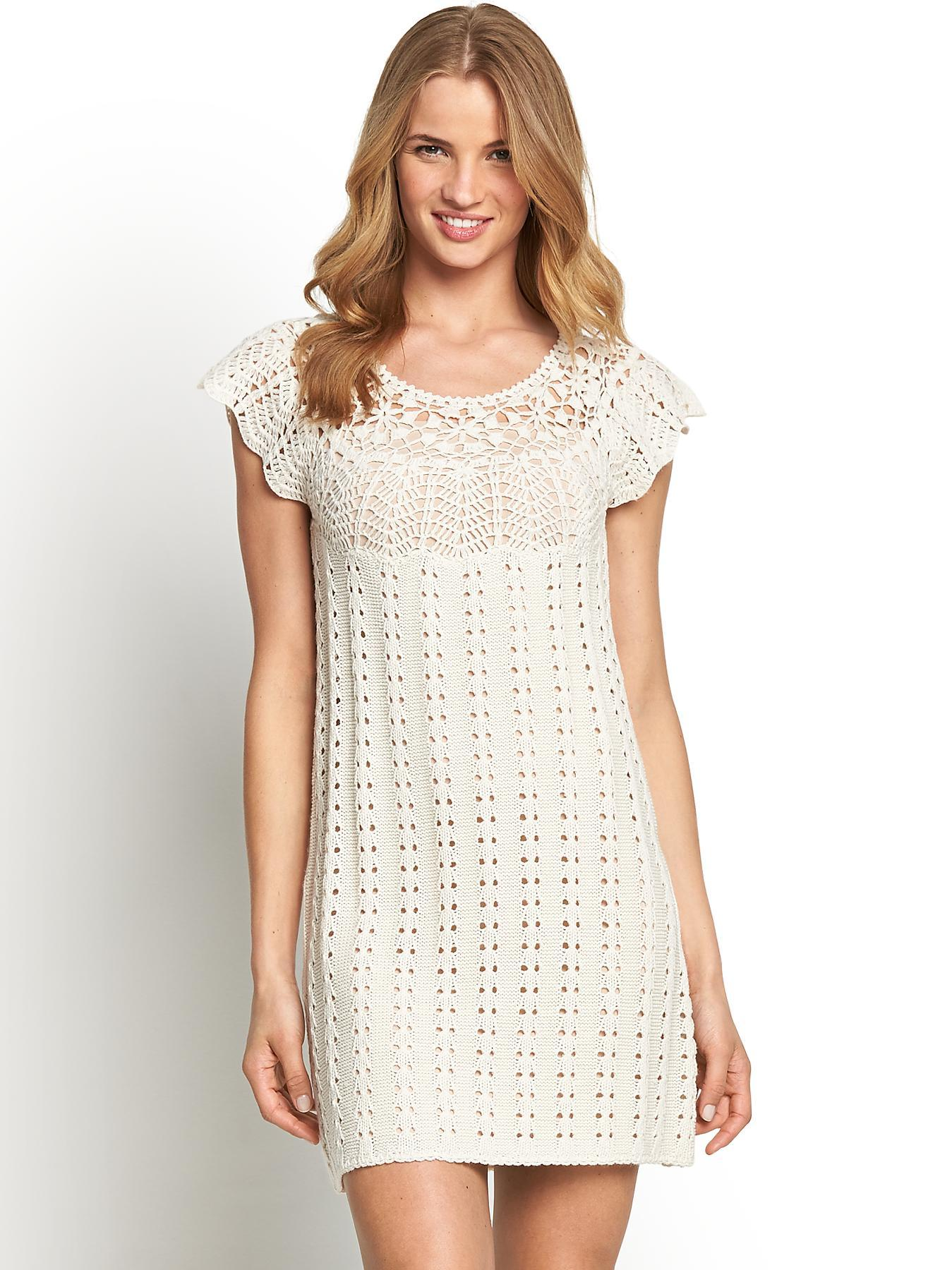 Crochet Knit Unlined Dress, Black,Cream