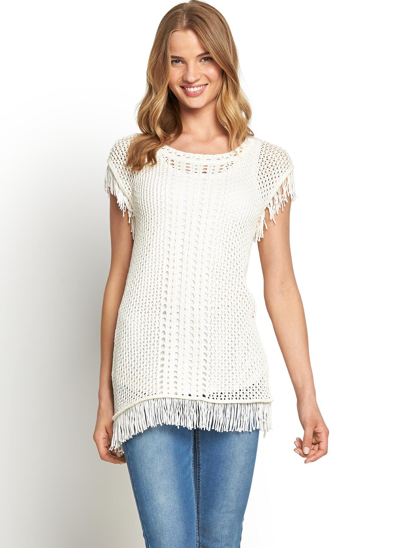 Pointelle Open Knit Tunic, Black,Cream