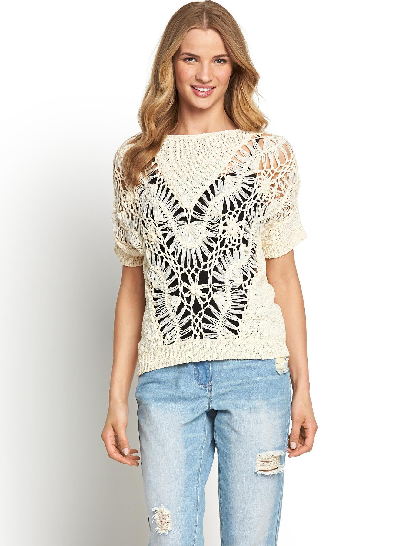 Macrame Knit Jumper, Cream,Black