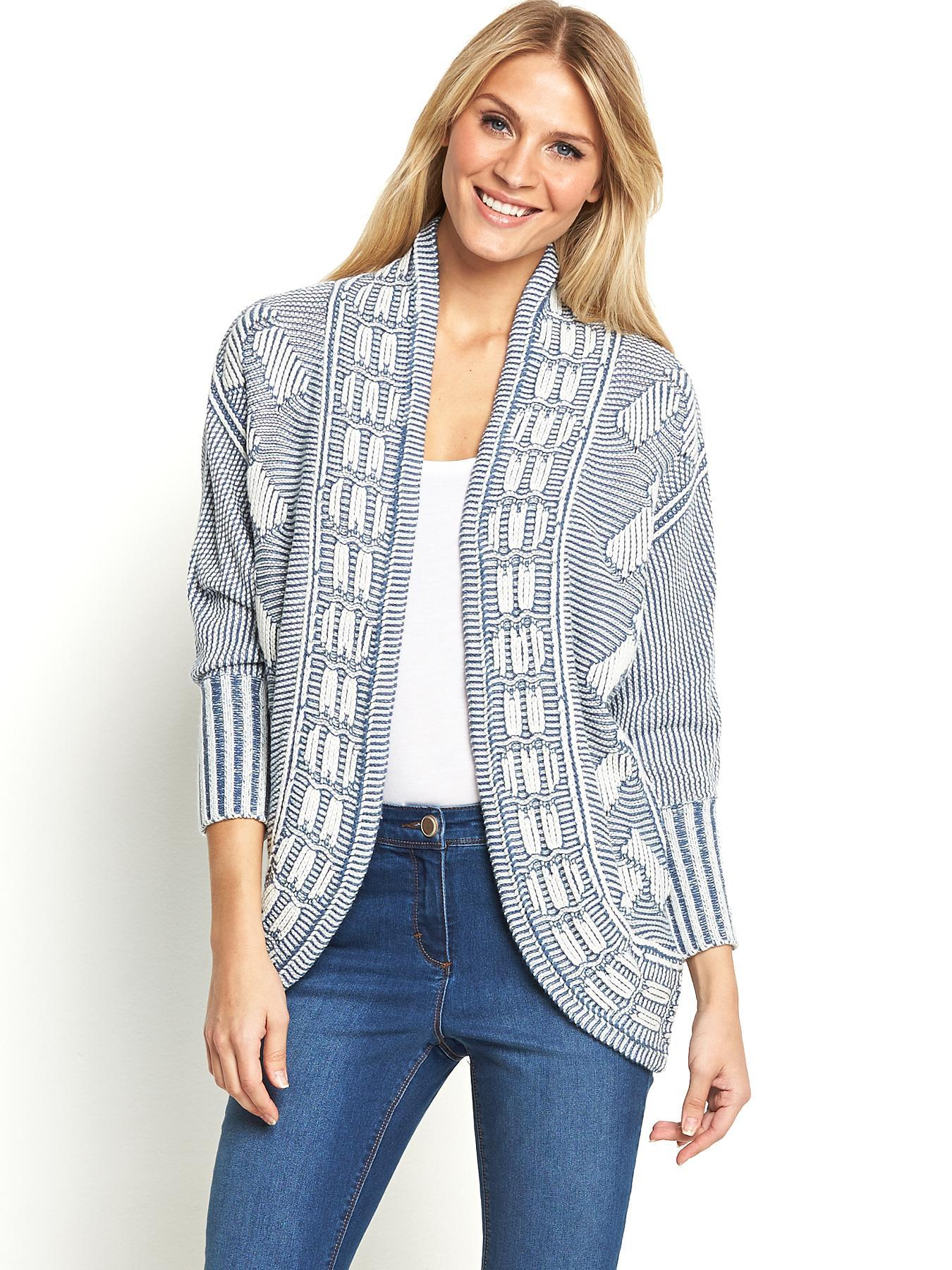 Cocoon Cardigan, Blue,Grey