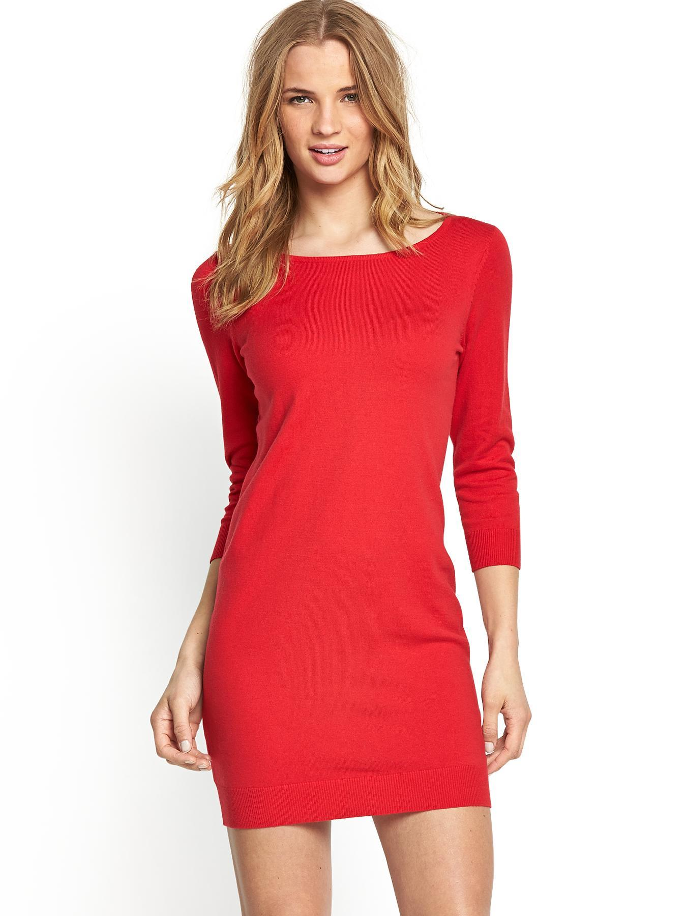 Lightweight Strech Knit Dress, Red,Black