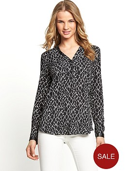 south-printed-pu-trim-detail-shirt