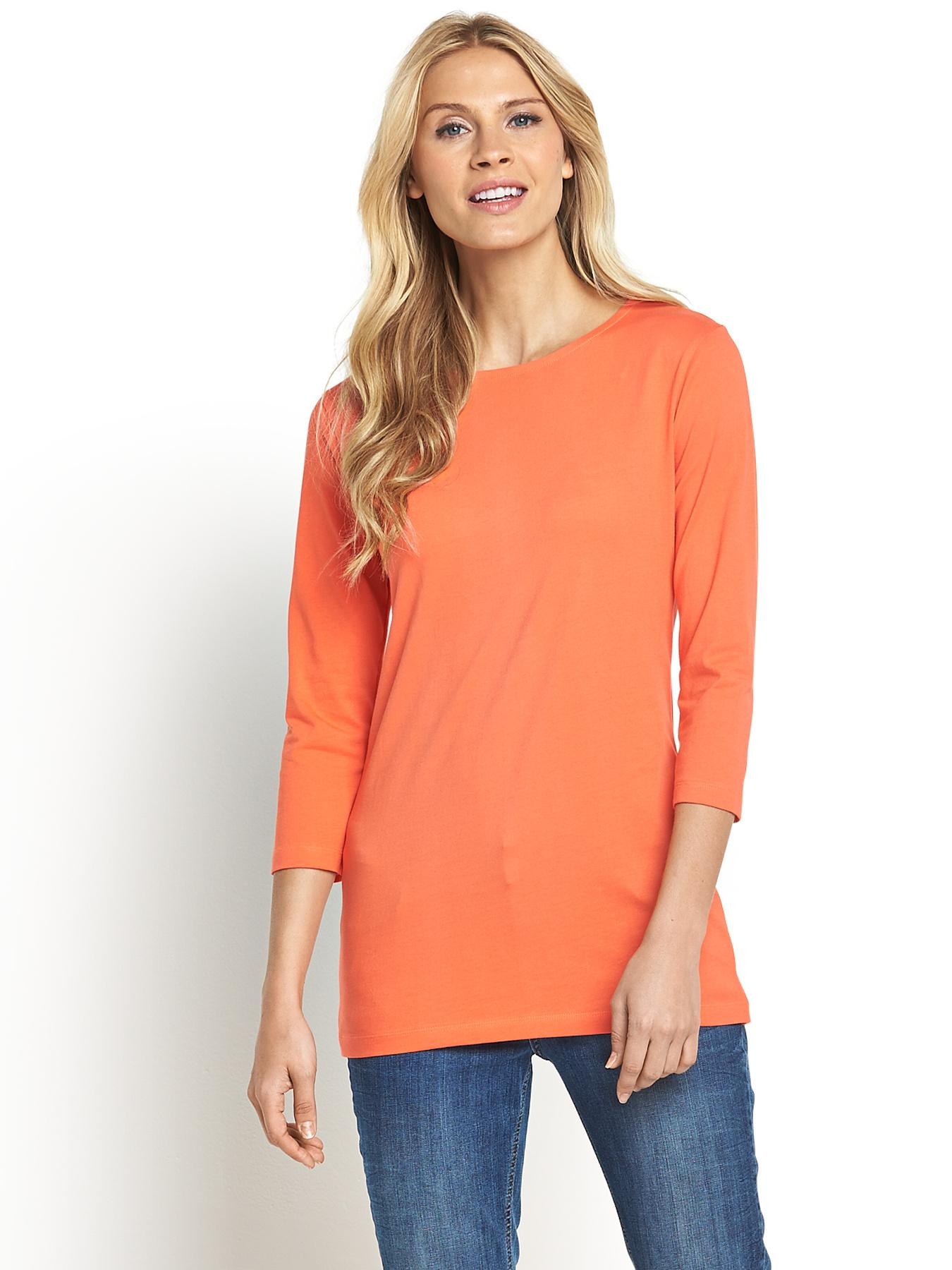 Tall Three-Quarter Sleeve Crew Neck top, Black,Grey,Coral,White at Littlewoods