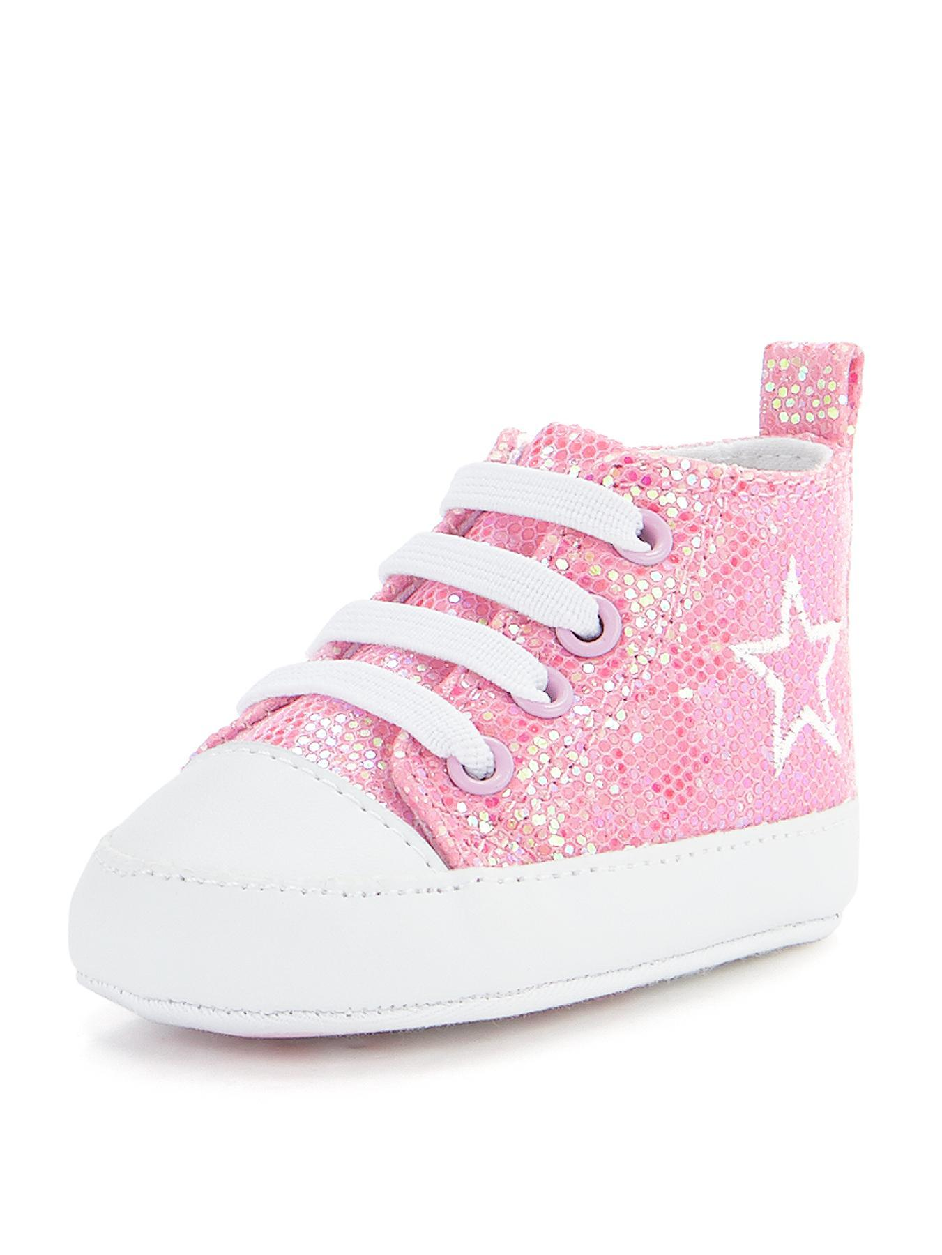 April Plimsolls Pram Shoes, Pink