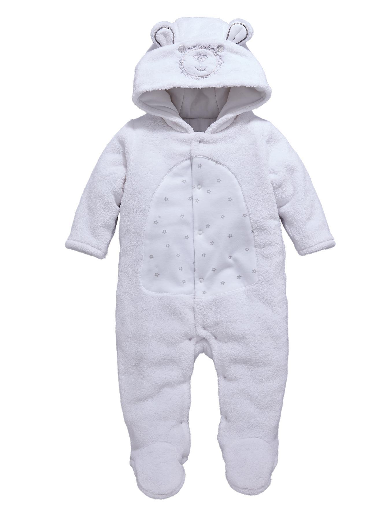 Unisex Baby Bear All-in-One, White
