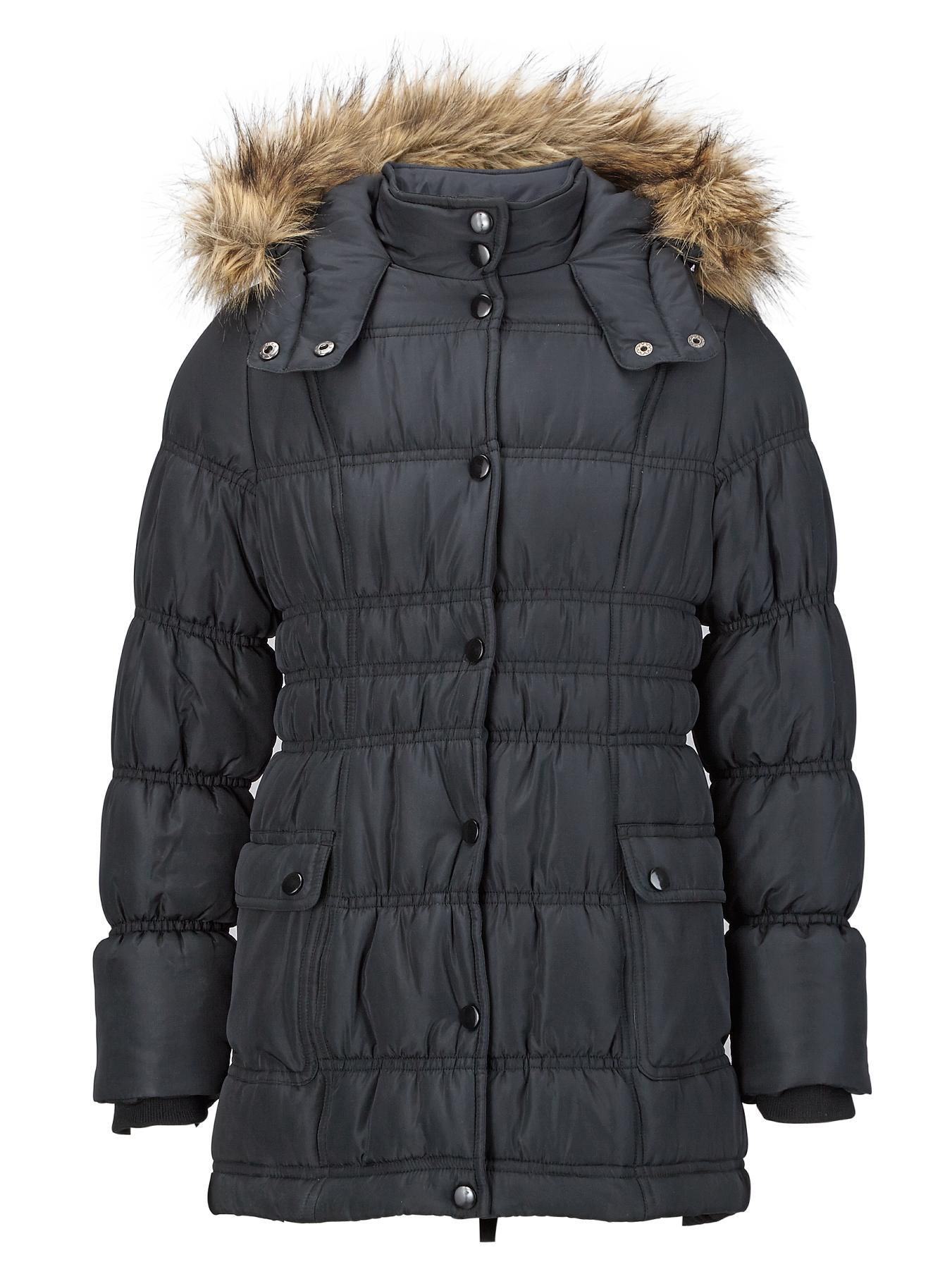 Girls Longline Padded Coat with Faux Fur Hood.