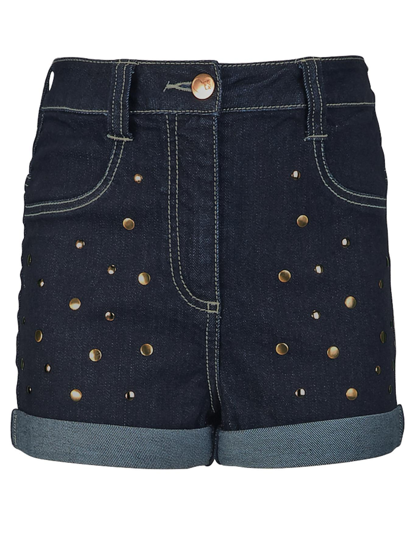 Girls High Waisted Studded Shorts.