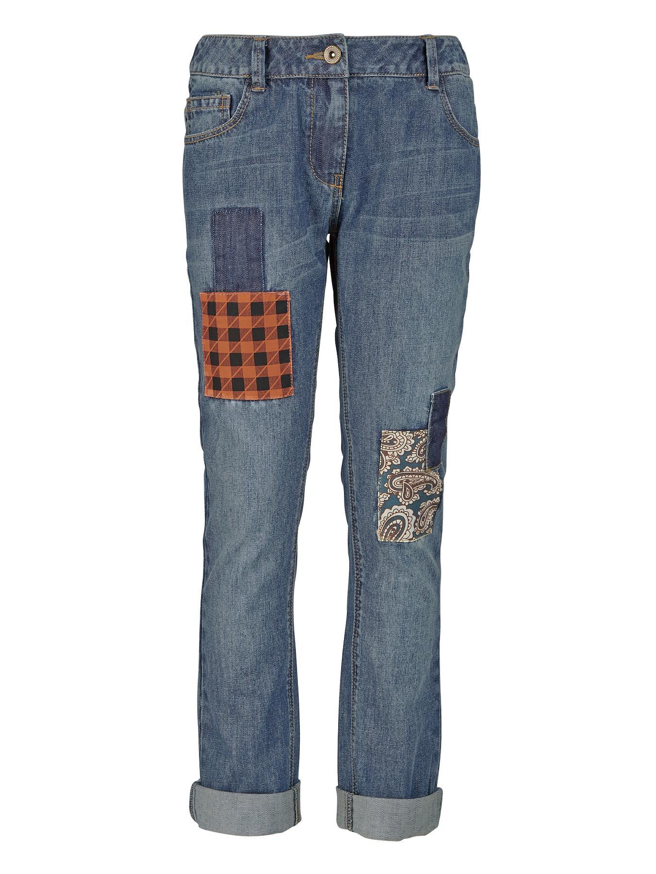 Girls Check Patch Tapered Jeans, Blue.