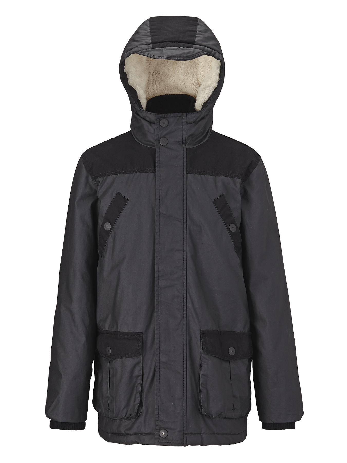 Boys Waxed Look Hooded Jacket, Black