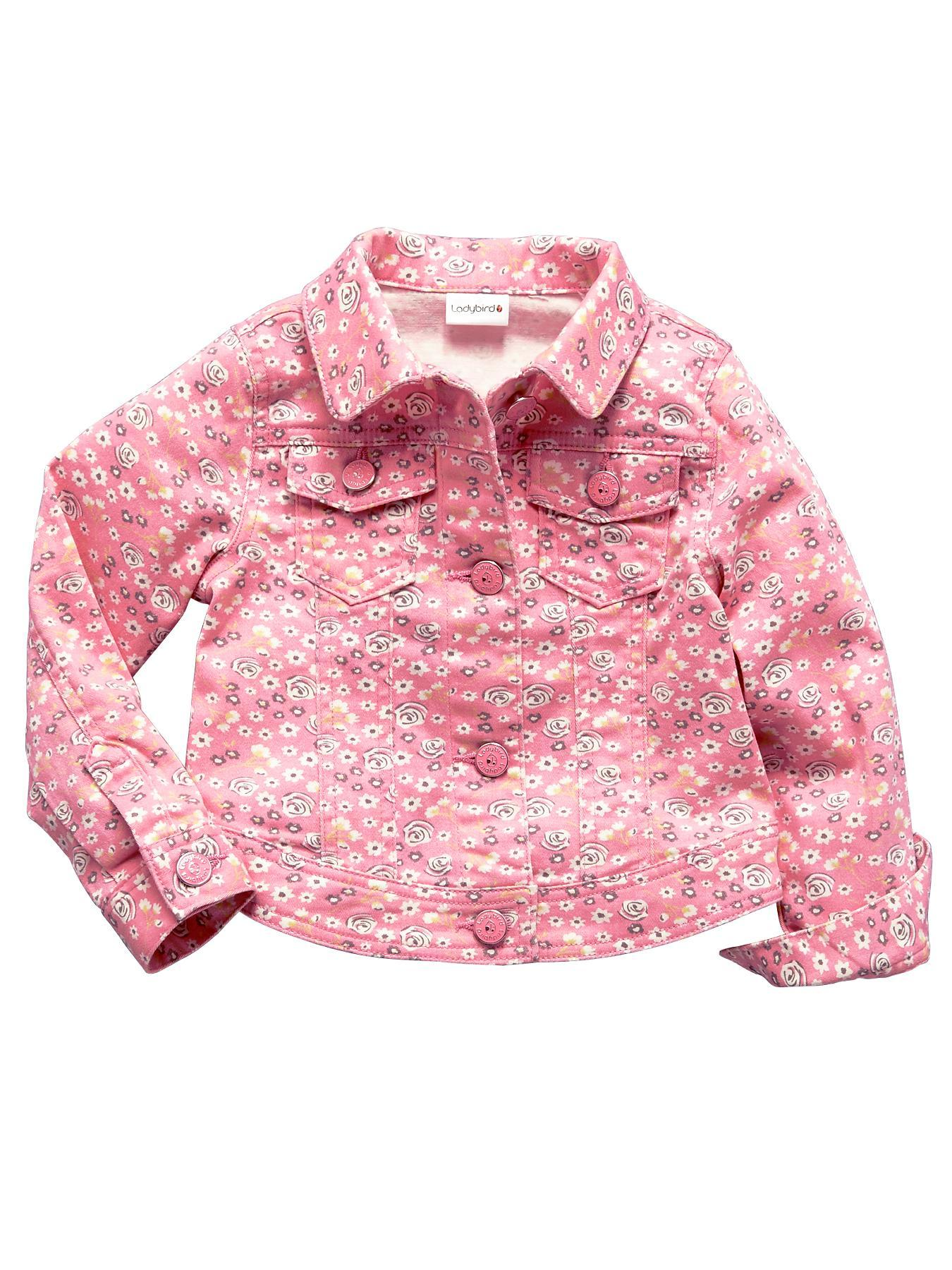 Girls Floral Printed Denim Jacket.