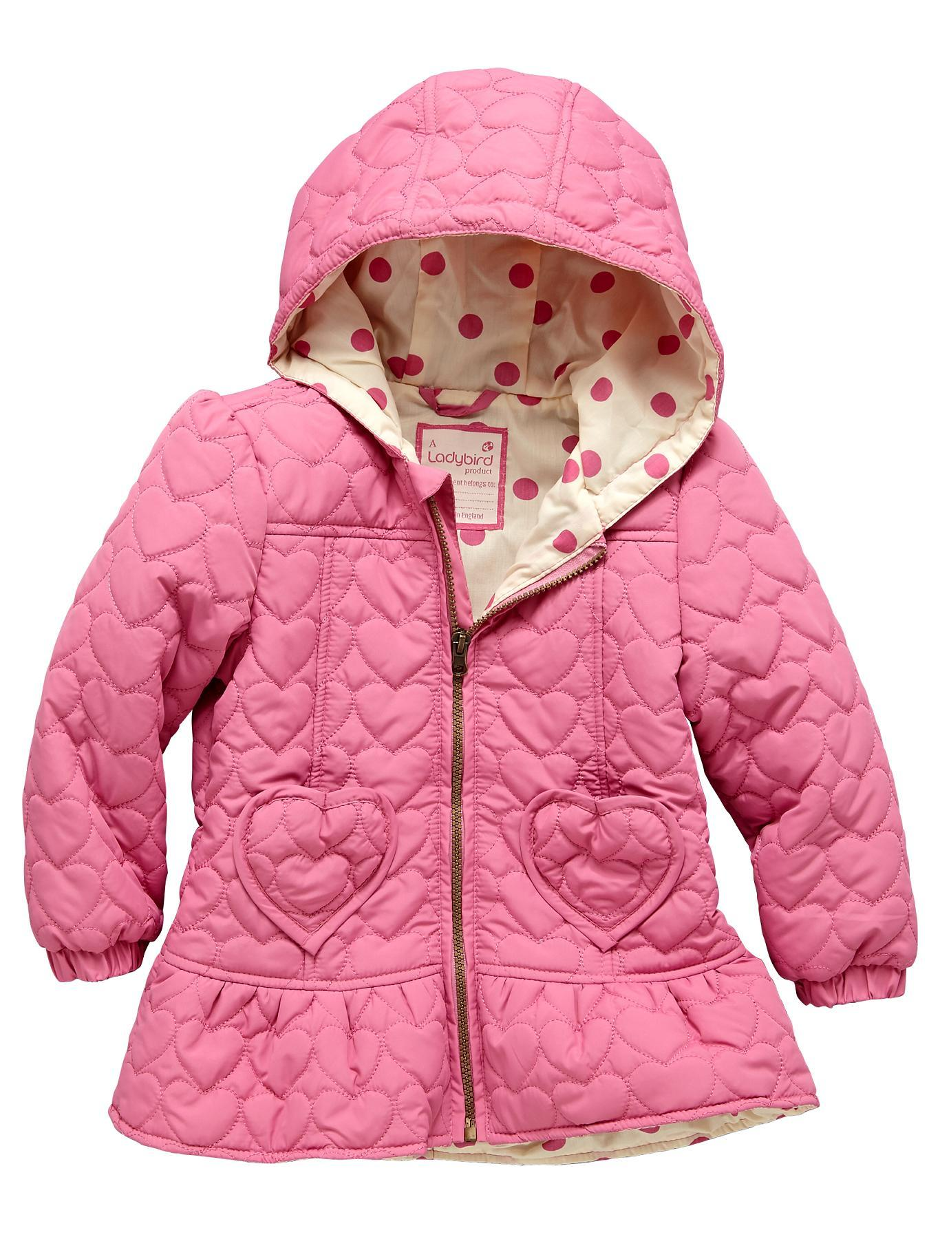 Heart Peplum Quilted Coat, Pink.