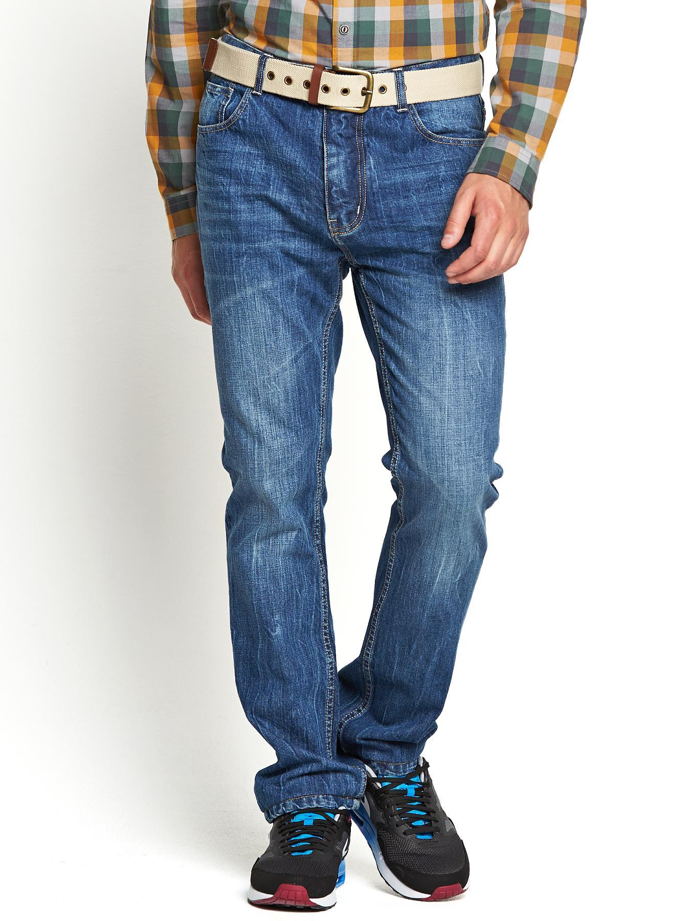Mens Slim Fit Jeans with Belt - Mid Blue, Blue