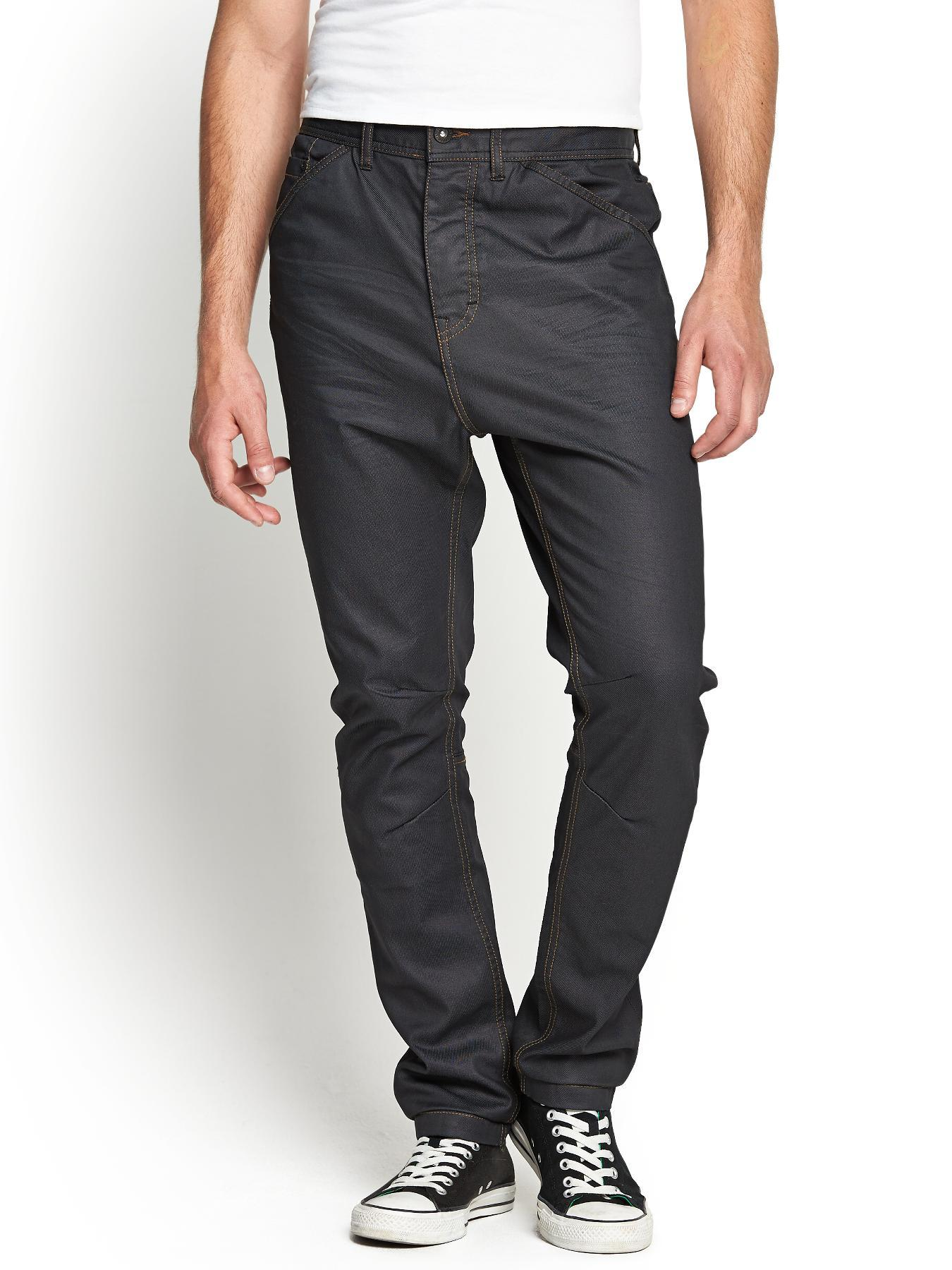 Mens Coated Carrot Fit Jeans, Black
