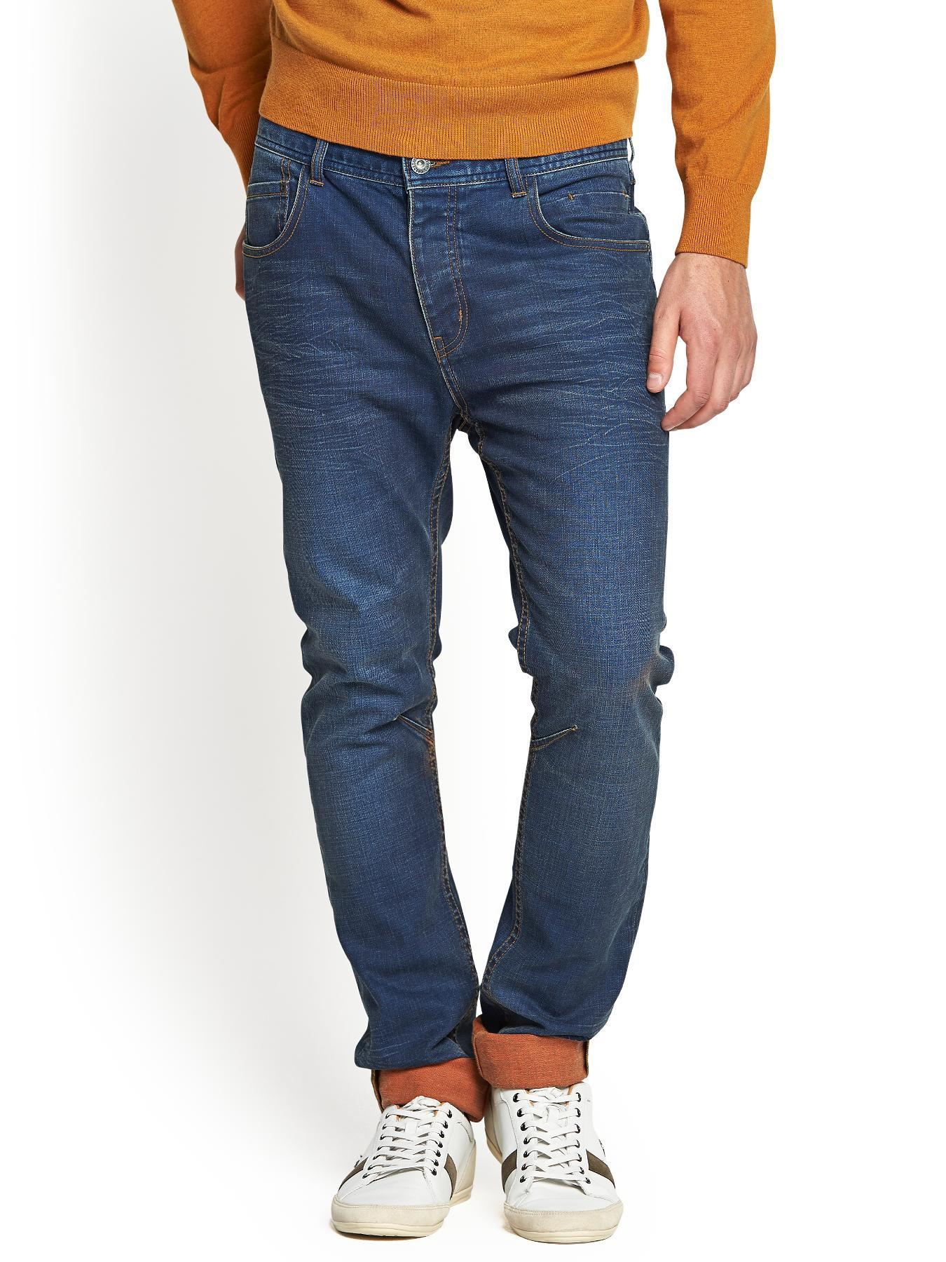 Mens Tapered Contrast Turn Up Jeans, Blue